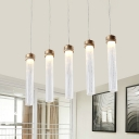 5 Bulbs Dining Room Hanging Light Fixture Contemporary Brass Multi Lamp Pendant with Tube Clear Glass Shade
