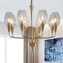 Brass Cup-Shape Ceiling Chandelier Modern 8 Heads Clear Glass Hanging Pendant Light with Radial Curved Arm