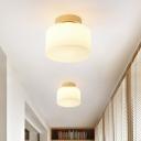 Drum Flushmount Lighting Modern White Glass 1 Light Hallway Ceiling Flush Mount in Brass