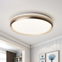 Simple Circle Flushmount Lighting Metal Living Room LED Flush Mount Lamp Fixture in Black/Gold/Silver