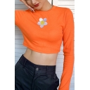 Fancy Ladies Long Sleeve Crew Neck Floral Embroidered Fitted Crop Tee Top in Orange