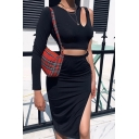 Hot Elegant Womens Single Sleeve Round Neck Cut Out Buckle Strap Fit Crop Tee Slit Side Skirt Two Piece Set in Black