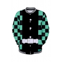 Popular Boys Long Sleeve Button Down Geometric Belt 3D Printed Relaxed Baseball Jacket