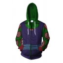 Boys Popular Long Sleeve Drawstring Zip Up Colorblocked 3D Comic Cosplay Costume Printed Relaxed Hoodie in Green