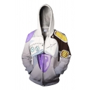 Popular Chic Long Sleeve Drawstring Zip Up 3D Anime Cosplay Relaxed Hoodie in White