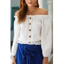 Stylish Womens White Blouson Sleeve Off the Shoulder Button Up Stringy Selvedge Relaxed Blouse Top