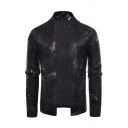 Chic Bling Bling Long Sleeve Shawl Neck Sequins Decoration Slim Fit Plain Cardigan for Club Men