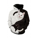 Lovely Creative Boys Long Sleeve Drawstring Yin Yang Cat 3D Patterned Relaxed Hoodie