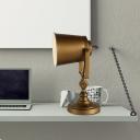 Gold Finish Bell Table Light Vintage Metal 1-Head Bedroom Adjustable Desk Lamp with Handle