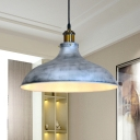 Vintage Barn Shade Suspended Light 1 Bulb Iron Pendant Ceiling Lamp in Silver for Living Room