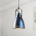Metal Bell Down Lighting Industrial 1-Light Countryside Suspension Lamp in Black with Handle