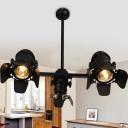 Camera Shape Iron Spotlight Art Deco 3 Heads Dining Room Island Pendant Lamp Fixture in Black