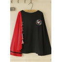 Popular Trendy Long Sleeve Round Neck Embroiderey Lace Up Fringe Color Block Oversize Tee Top in Black