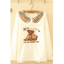 Unique Ladies Long Sleeve Peter Pan Collar Plaid Pattern Lace Trim Letter PUPPY Dog Embroidered Loose Fit T Shirt
