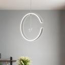 White/Black Ring Hanging Light Minimalist LED Acrylic Suspended Pendant Lamp with Bird Crystal Decor