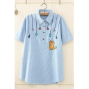 Lovely Girls Short Sleeve Lapel Collar Button Up Cartoon Cat Embroidery Striped Curved Hem Relaxed T Shirt