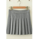 Classic Basic Girls High Rise Solid Color Mini A-Line Pleated Skirt