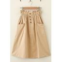 Leisure Fashion Womens Elastic Waist Button Front Plain Long A-Line Skirt