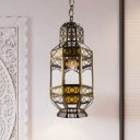 Decorative Faceted Ceiling Light 1 Bulb Metal Down Lighting Pendant in Brass for Restaurant