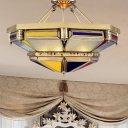 Multifaceted Living Room Ceiling Fixture Traditional Metal 3 Heads Brass Semi Flush Mount Light