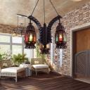 Metal Black Chandelier Lighting Fixture Lantern 3 Bulbs Vintage Hanging Pendant for Living Room