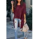 Leisure Plain Three-Quarter Sleeves Round Neck Twist Asymmetric Long Oversize T-Shirt for Women