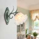 1 Head Metal Wall Sconce Pastoral Gray and Green Scalloped Bedroom Wall Light Fixture