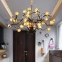 25 Lights Chandelier Pendant Light American Garden Tulip Metal LED Suspension Lamp in Brass