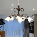 Milk Glass Brown Chandelier Lighting Flared 6 Heads Country Style LED Hanging Light Fixture for Bedroom