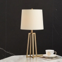 Fabric Shaded Desk Light Nordic 1 Bulb White Task Lamp with Trapezoid Gold Metal Base