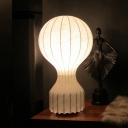 1 Bulb Living Room Table Light Modern White Nightstand Lamp with Curved Fabric Shade