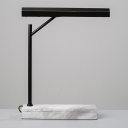 Shaded Metal Task Lighting Modernism LED Black Small Desk Lamp with Marble Base