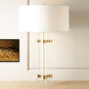 Fabric Cylindrical Reading Lamp Contemporary 1 Bulb Task Lighting in Gold for Bedroom