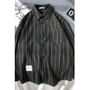 Popular Men's Long Sleeve Lapel Neck Stripe Printed Button Down Patched Pocket Loose Shirt