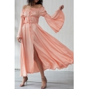 Amazing Women's Pink Bell Sleeve Off the Shoulder Drawstring Split Front Maxi Flowy Dress