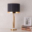 Fabric Drum Table Light Modernist 1 Bulb White Nightstand Lamp with Gold Circle Metal Base