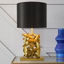Tube Fabric Nightstand Lamp Modern 1 Bulb Black Task Lighting with Gold Rectangular Metal Base
