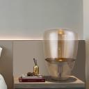 Jar Nightstand Lamp Modernism Cognac Glass 1 Head Task Lighting for Bedroom, 8.5