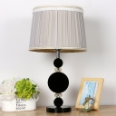1 Bulb Living Room Desk Lamp Modernist Black Table Light with Barrel Fabric Shade