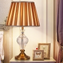 Contemporary Teardrop Task Lighting Beveled Crystal 1 Head Small Desk Lamp in Brown