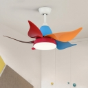 4 Blades Modernism Flower Semi Flushmount Metallic Living Room 35.5