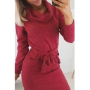 Stylish Solid Color Long Sleeve Cowl Neck Bow Tie Waist Slit Side Midi Bodycon Dress for Ladies