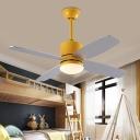 Cylinder Metal Fan Light Fixture Modernist Green/Grey/Yellow LED 4-Blade Semi Flush Ceiling Lamp for Bedroom, 42