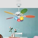 5-Blade White Ball Semi Flush Light Kids 42