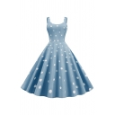 Pretty Formal Girls Sleeveless Round Neck Polka Dot Printed Long Pleated Flared Tank Dress