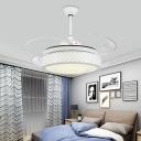 Drum Metallic Ceiling Fan Light Modern 48