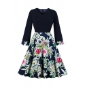 Boutique Women's Long Sleeve V-Neck Flower Patterned Patchwork Long Pleated Flared Dress in Navy