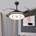 8 Blades Black Round Pendant Fan Lamp Contemporary Acrylic Bedroom LED Semi Flush Lighting, 48