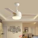 Metal White/Black Ceiling Fan Light Bowl Contemporary 3 Wooden Blades LED Semi Flush Mounted Lamp, 36