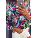 Chic Fashion Women's Long Sleeve Crew Neck All Over Floral Leaf Pattern Relaxed Tee